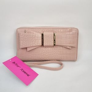 Betsey Johnson Wristlet with Bow (Pink)